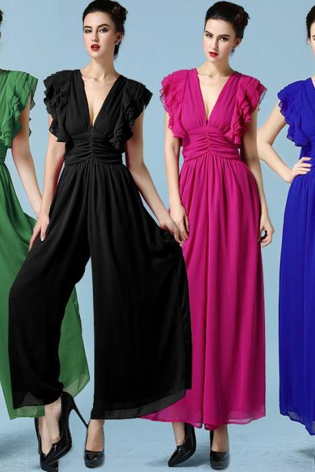 High Quality Women Chiffon Long Rompers (4 Colors)