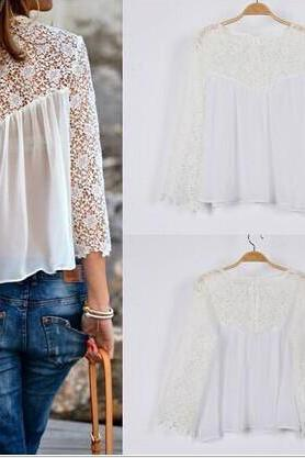 LACE CHIFFON WHITE HOLLOW OUT BLOUSE MY0155FY