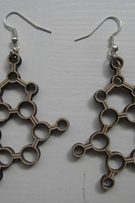 wooden laser cut earrings - Molecules