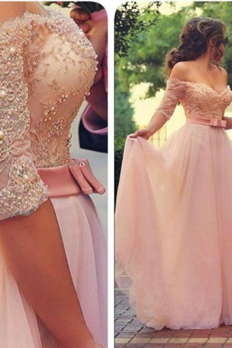 A Line Tulle Pink Prom Dress, Cheap Prom Dress, Elegant Prom Dress With Sleeves, Long Prom Dress, Evening Gowns, Women Dresses