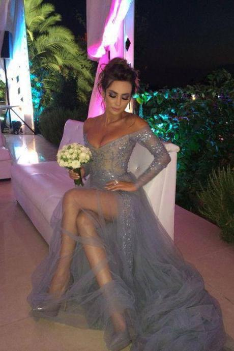 Grey Tulle Sexy Evening Dress, Long Evening Dress With Side Slit, Deep V Neck Prom Dress, Cheap Evening Dress, Sparkly Prom Dress, Glittery Prom Gowns