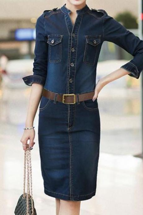 RSSLyn Fashion Slim Type Denim Dress for Women-Denim Dress with Leather Belt