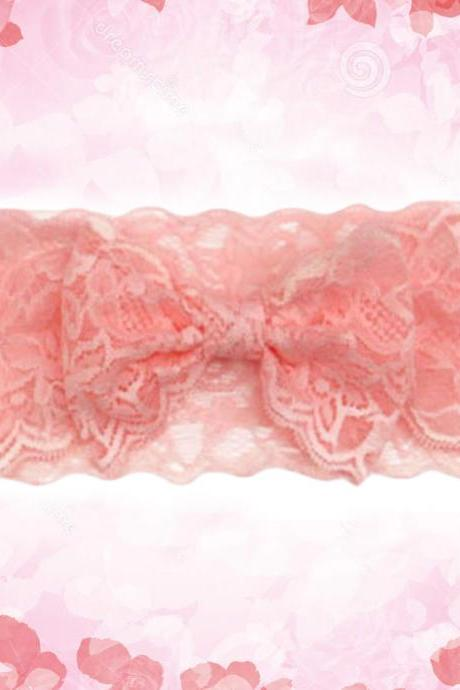 RSSLyn Fashion lacy Hair Accessories for Newborn Girls Pink Headband Peach Girls Bow for 3 Months Baby Girl-Baby Shower Gifts