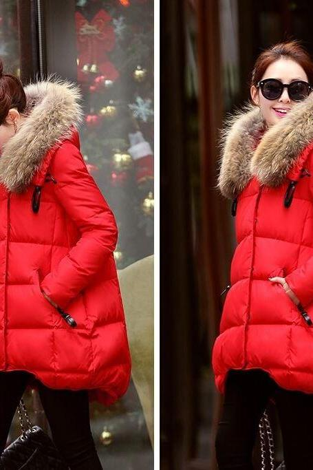 RSSLyn New Outerwear for Women with Detachable Faux Fur Pretty Red Down Parkas with Hood for Women Thick and Warm Sizes S-2XL