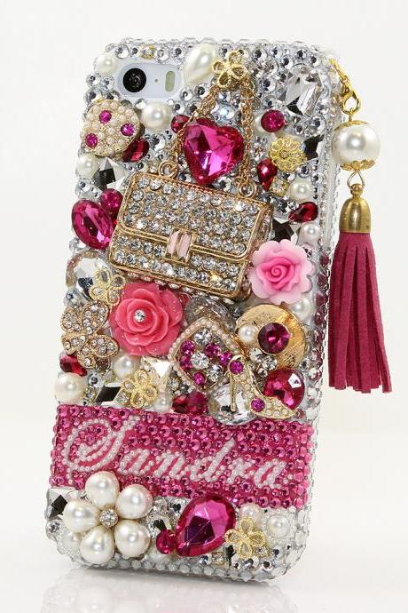 Bling Crystals Phone Case for iPhone 6 / 6s, iPhone 6 / 6s PLUS, iPhone 4, 5, 5S, 5C, Samsung Note 2, Note 3, Note 4, Galaxy S3, S4, S5, S6, S6 Edge, HTC ONE M9 (FASHION PURSE PERSONALIZED NAME & INITIALS DESIGN WITH TASSEL PHONE CHARM) By LuxAddiction