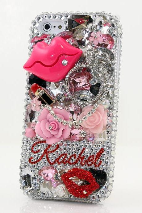 Bling Crystals Phone Case for iPhone 6 / 6s, iPhone 4, 5, 5S, 5C, Samsung Note 2, Note 3, Note 4, Galaxy S3, S4, S5, S6, S6 Edge, HTC ONE M9 (LIPSTICK LOVERS PERSONALIZED NAME & INITIALS DESIGN) By LuxAddiction