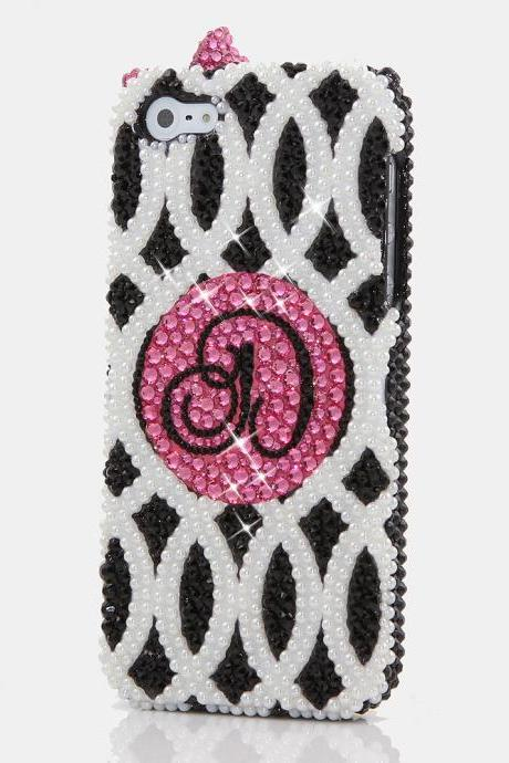 Bling Crystals Phone Case for iPhone 6 / 6s, iPhone 4, 5, 5S, 5C, Samsung Note 2, Note 3, Note 4, Galaxy S3, S4, S5, S6, S6 Edge, HTC ONE M9 (3D LITTLE PINK BOW PERSONALIZED MONOGRAM DESIGN) By LuxAddiction