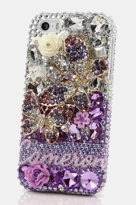 Bling Crystals Phone Case for iPhone 6 / 6s, iPhone 6 / 6s PLUS, iPhone 4, 5, 5S, 5C, Samsung Note 2, Note 3, Note 4, Galaxy S3, S4, S5, S6, S6 Edge, HTC ONE M9 (LAVENDER DOUBLE BUTTERFLY PERSONALIZED NAME & INITIALS DESIGN) By LuxAddiction