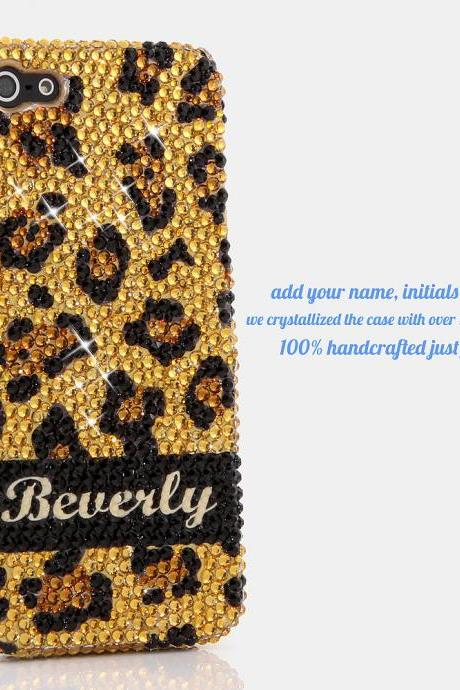 Bling Crystals Phone Case for iPhone 6 / 6s, iPhone 6 / 6s PLUS, iPhone 4, 5, 5S, 5C, Samsung Note 2, Note 3, Note 4, Galaxy S3, S4, S5, S6, S6 Edge, HTC ONE M9 (GOLDEN LEOPARD PERSONALIZED NAME & INITIALS DESIGN) By LuxAddiction