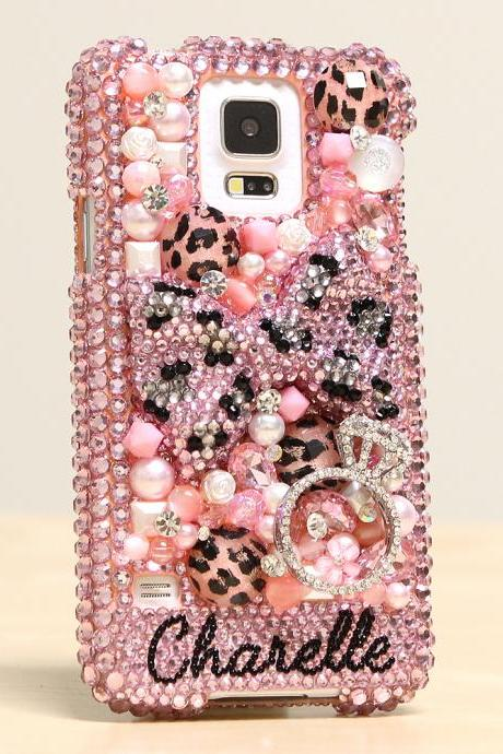 Bling Crystals Phone Case for iPhone 6 / 6s, iPhone 6 / 6s PLUS, iPhone 4, 5, 5S, 5C, Samsung Note 2, Note 3, Note 4, Galaxy S3, S4, S5, S6, S6 Edge, HTC ONE M9 (PINK LEOPARD BOW PERSONALIZED NAME & INITIALS DESIGN) By LuxAddiction