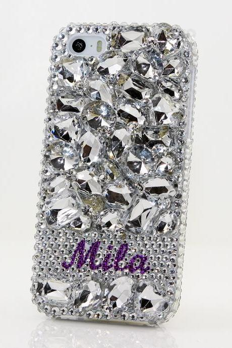 Bling Crystals Phone Case for iPhone 6 / 6s, iPhone 6 / 6s PLUS, iPhone 4, 5, 5S, 5C, Samsung Note 2, Note 3, Note 4, Galaxy S3, S4, S5, S6, S6 Edge, HTC ONE M9 (DIAMOND STONES PERSONALIZED NAME & INITIALS DESIGN) By LuxAddiction