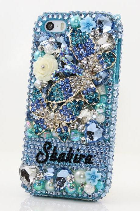 Bling Crystals Phone Case for iPhone 6 / 6s, iPhone 6 / 6s PLUS, iPhone 4, 5, 5S, 5C, Samsung Note 2, Note 3, Note 4, Galaxy S3, S4, S5, S6, S6 Edge, HTC ONE M9 (BLUE DOUBLE BUTTERFLY PERSONALIZED NAME & INITIALS DESIGN) By LuxAddiction