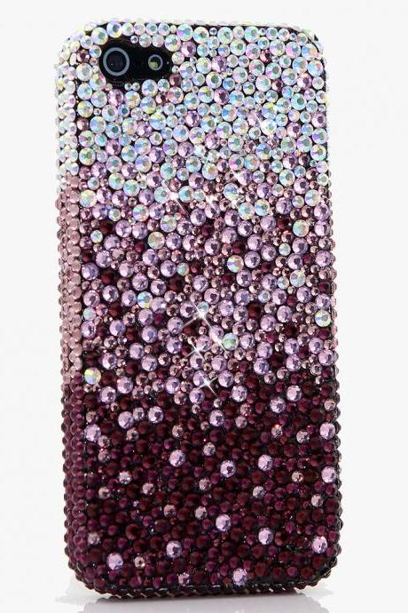 Bling Crystals Phone Case for iPhone 6 / 6s, iPhone 6 / 6s PLUS, iPhone 4, 5, 5S, 5C, Samsung Note 2, Note 3, Note 4, Galaxy S3, S4, S5, S6, S6 Edge, HTC ONE M9 (AB CRYSTALS FADED TO DARK PURPLE DESIGN) By LuxAddiction