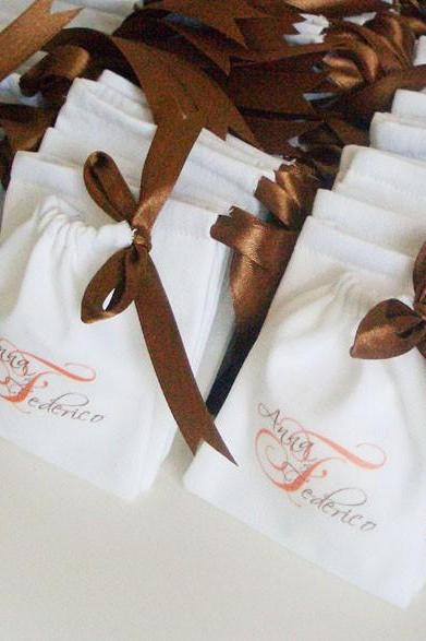 50 custom printed white cotton Wedding pouches - 4 x 4.5 - Medium