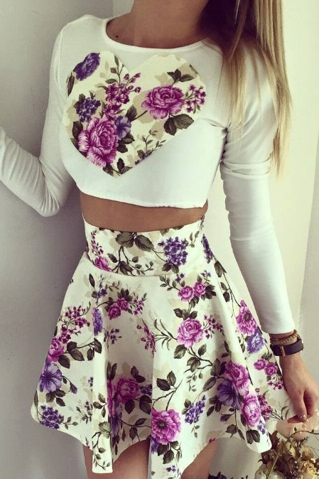 Long Sleeves Two Piece Floral Dress