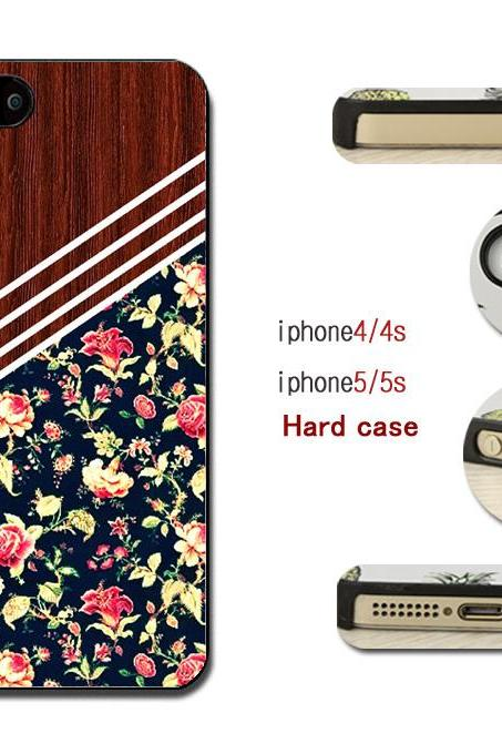 Wood Grain Roses Hard case cover for iPhone 4/4s/5/5s/6/6plus case Samsung Galaxy S3/S4 /S5 Note2/3/4 Case