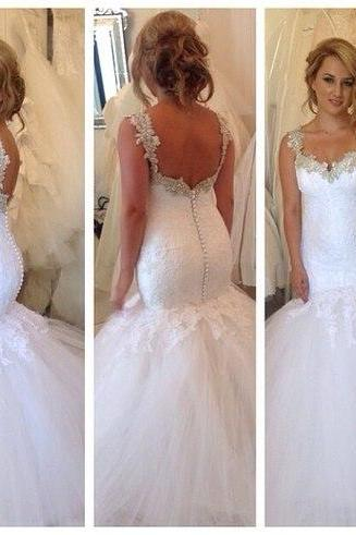 Sexy Lace Up Wedding Dress,Custom Made Bridal Gown,Sleeves Wedding Gown 2015,Mermaid Bridal Gown,Formal Dress For Wedding