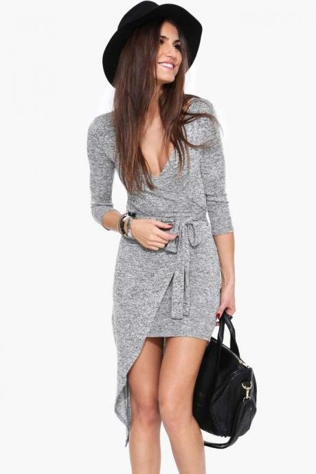Plunge V Long Sleeves Short Wrap Dress Featuring Bow Accent Tie Belt
