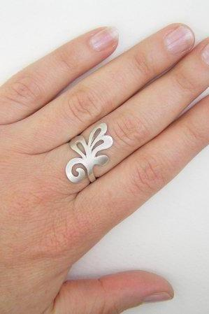 Sterling Silver Branch Ring - Swirling Leaf Ring - Lacy Leaf