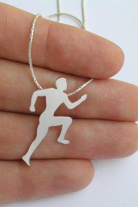 Silver Runner Necklace Pendant - Sterling Silver Running Man Silhouette Pendant - Hand Cut