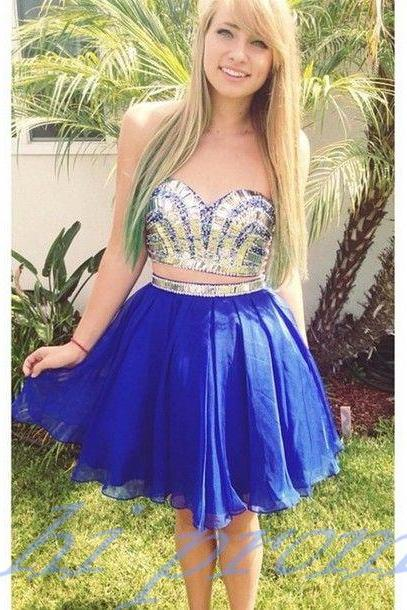 Royal Blue Homecoming Dress,2 Piece Homecoming Dresses,Beading Homecoming Gowns,Short Prom Gown,Sweet 16 Dress,Bling Homecoming Dress,2 pieces Cocktail Dress,Evening Gowns