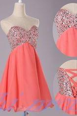 Coral Homecoming Dress,Sexy beaded Homecoming Dresses,Chiffon Homecoming Gown,Beading Party Dress,Short Prom Dress,Sweet 16 Dress,Homecoming Dresses,Glitter Evening Gown