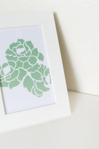 6x4 print - moss green camellia on milk white rose - white frame