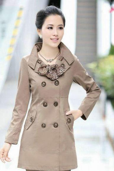Beige Coat Jacket Beige Trench Coats for Women with Leopard Scarf