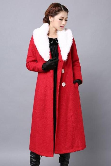 Rsslyn Christmas Overcoats for Women Fashion Trench Coats Warmer Wool Red Trench Coats Winter Overcoats Plus Sizes, 2XL,3XL,4XL,5XL