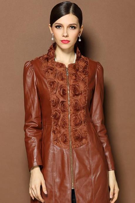 Brown Womens Leather Jacket with Rosette Decoration