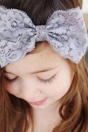 RSSLyn Wide Lacy Headbands for Little Girls Gray Girls Lace Headband Gray Stretchable Girls Bow for 2T