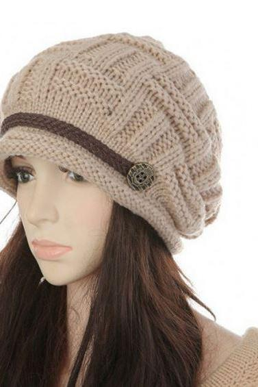 RSSLyn Knitted Beanies for Women with Button Beige Knitted Hats for Women Handmade Wool Knitted Beige Beanies