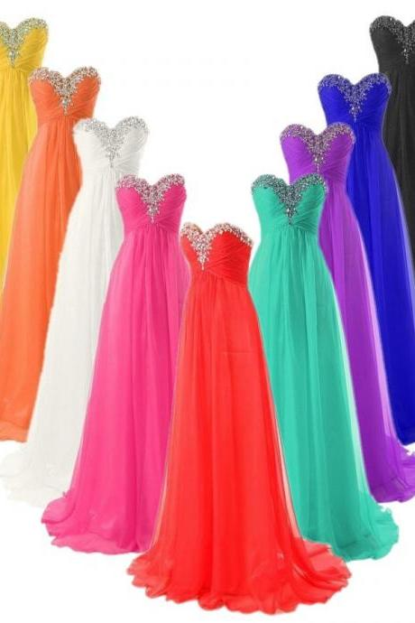 Elegant Girl's Sweetheart Chiffon Crystal Lace Up Long Bridesmaid Dresses Cheap 2015 Prom Dresses