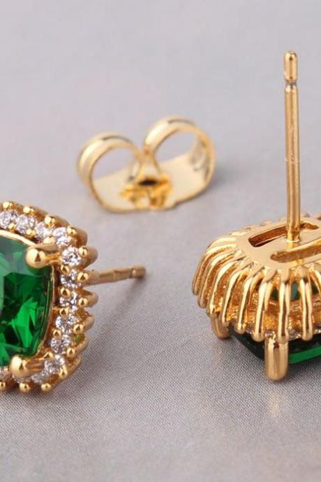 Green Womens Gold Earrings Emerald Stud Earing 24K Yellow Gold Filled Earrings