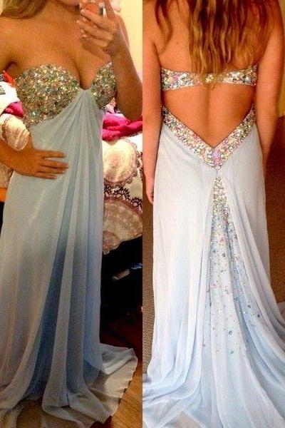 Sexy A Line Beading Long Prom Dresses,Chiffon Prom Gowns,Beaded Evening Dresses, Backless Evening Gowns, Cocktail Dresses Custom