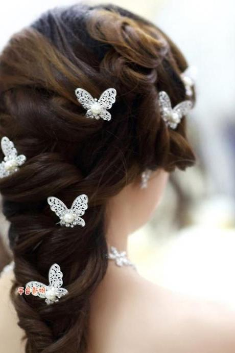 20 Pieces of Bridal Hairpins Butterfly Hairpins Silver Plated with Pearl