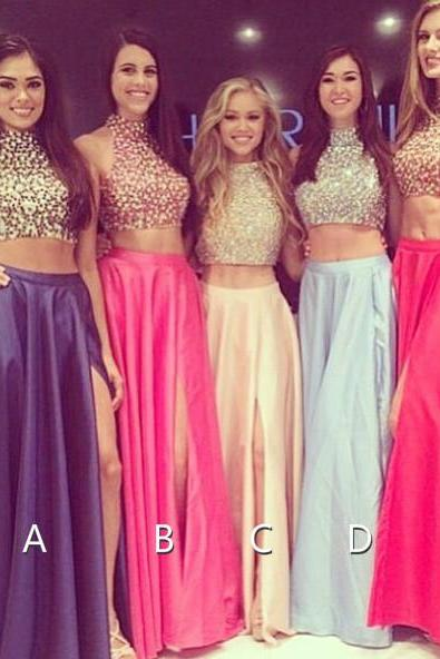 Two Pieces Prom Dresses 2015, Party Dresses 2015, Formal Dresses 2015, Evening Dresses 2015,Occasion A-Line Dresses On Sale