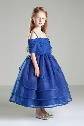 Blue organza with appliques A line spaghetti strap ankle length flower girl dresses,little kid dress,girl birthday dresses
