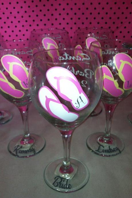8 Personalized flip flop Wine Glasses. Great Gifts