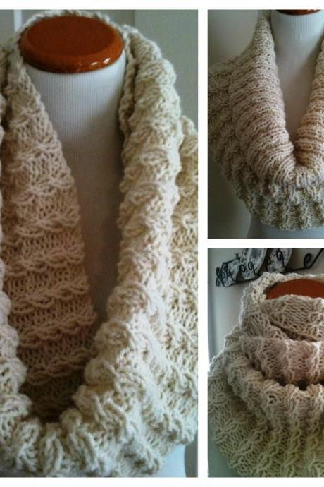 Handknit Oversized Cable-Twist Cowl in Cream