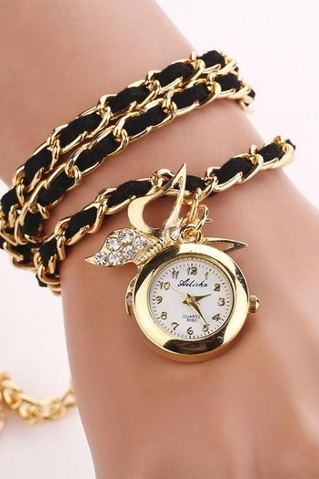 Dress long black bracelet fashion lady watch