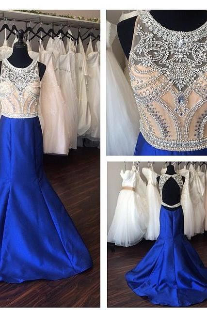 Royal Blue Satin Mermaid Evening Dress, Sparkly Evening Gowns, Charming Evening Dress, Sexy Formal Dress, Long Evening Dress, Backless Evening Gown, Elegant Prom Dress