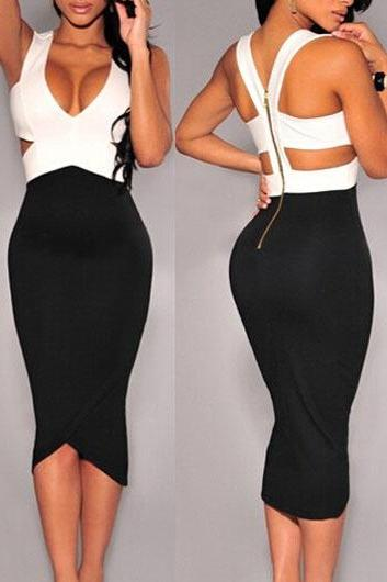 Free shipping Color Block Cutout Waist Bodycon Dress