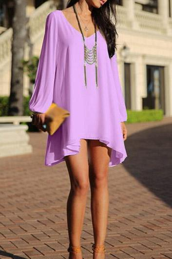 Sexy Neck Slit Long Sleeve Shift Chiffon Dress - Purple