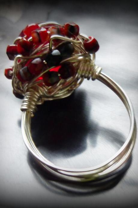 Red and Silver Bling Ring