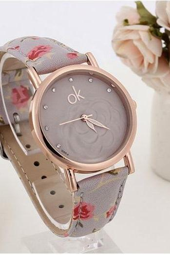 Flowers multicolor Pu leather grey band girl watch