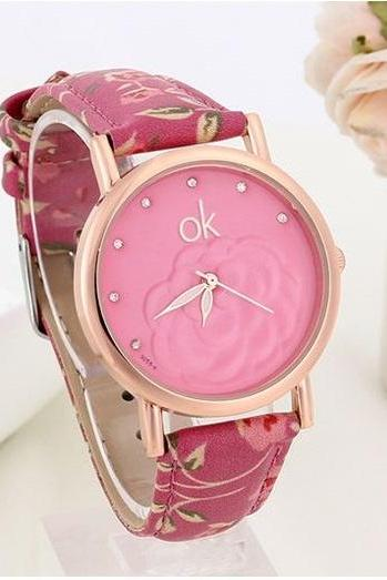 Flowers Multicolor Pu Leather Purple Band Girl Watch