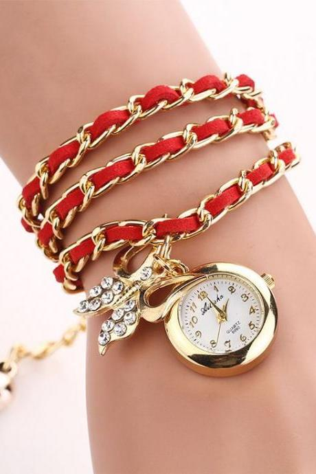 Dress Long Red Bracelet Fashion Lady Watch