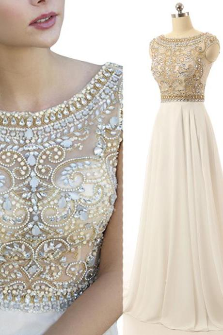 Gorgeous Ivory Prom Dress, Cap Sleeve Prom Dresses, Beaded Long Evening Dress, Sparkly Prom Dress, Elegant Prom Dresses, Cheap Formal Dresses