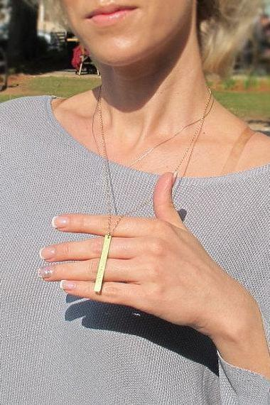 Latitude Longitude Necklace - Personalized Layering Necklace - Engraved Gold Bar Pendant - Lariat Necklace for Her - Long Chain Necklace 24 inch (60cm)